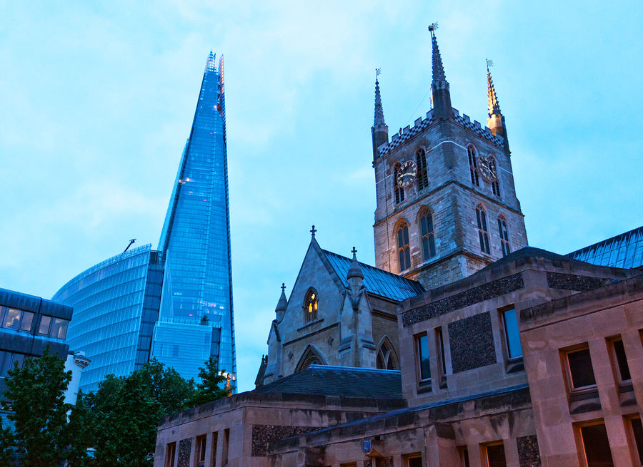 The Shard and Southwark Cathedral, London, England