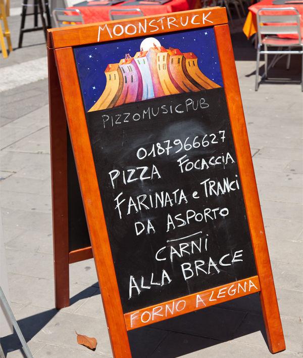 Café sign, Lerici (Italian Riviera), Italy