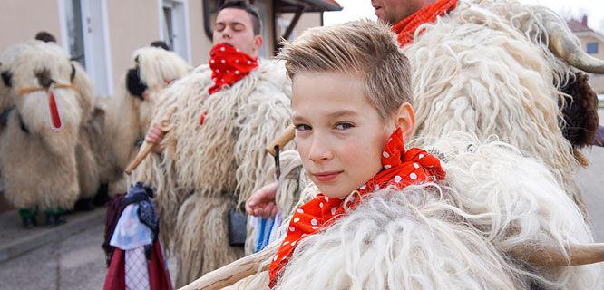 Kurent carnival costumes, near Ptuj, Slovenia