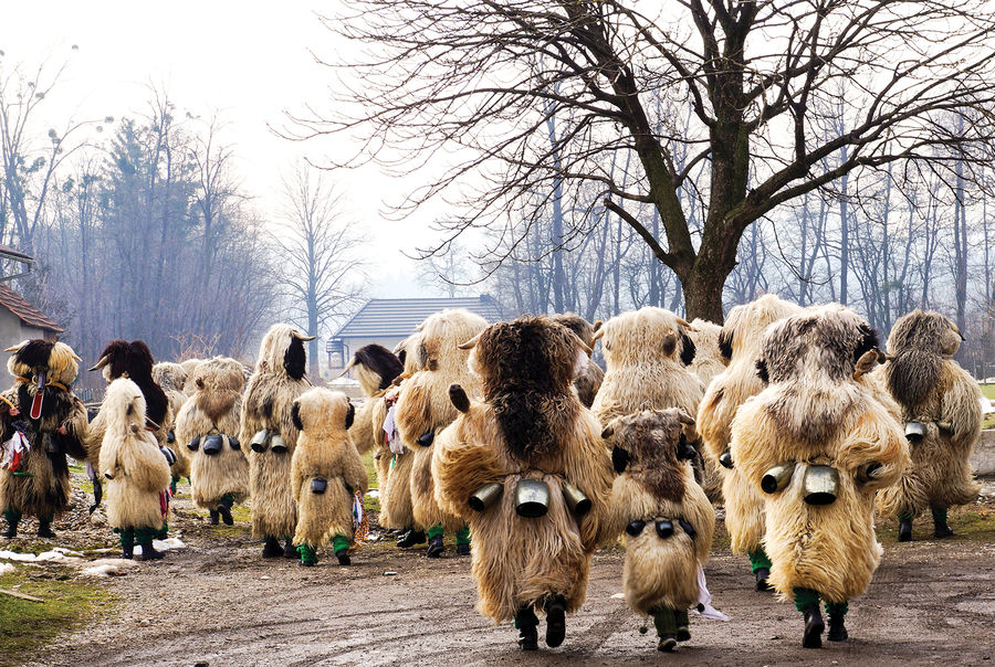 Kurent procession at carnival time, near Ptuj, Slovenia