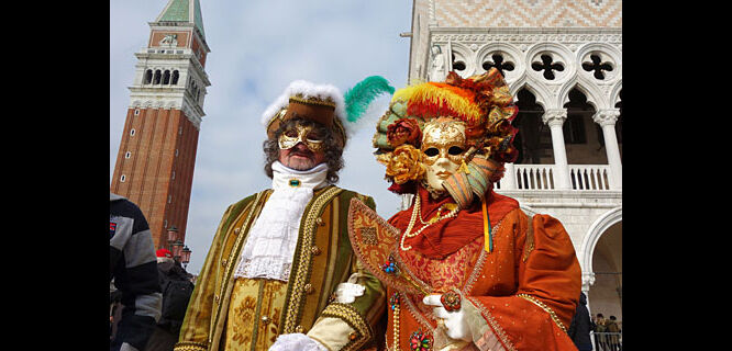 Carnevale costumes on St. Mark's Square, Venice, Italy
