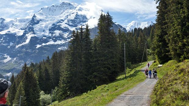 Jungfrau views from the Grütschalp–Mürren trail, Berner Oberland, Switzerland