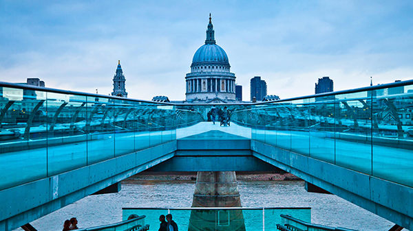 Millennium Bridge and the dome of St. Paul's Cathedral, London, England