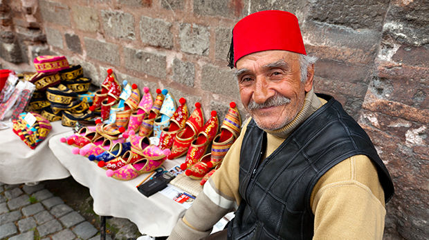 Merchant in Sultanahmet neighborhood, Istanbul, Turkey