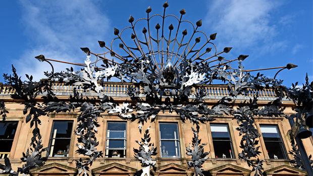 Peacock sculpture on Buchanan Street facade of Princes Square, Glasgow, Scotland