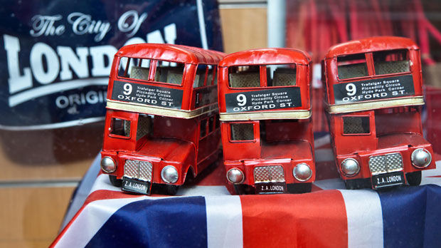 Gift shop buses, London, England