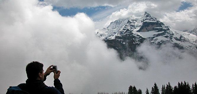 Jungfrau playing peek-a-boo, Lauterbrunnen Valley, Switzerland