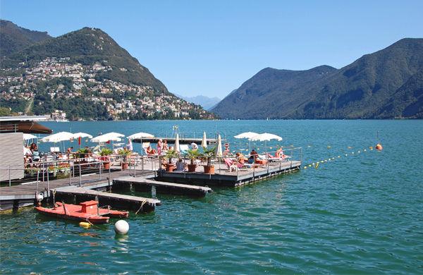 Lakeside café, Lugano, Switzerland