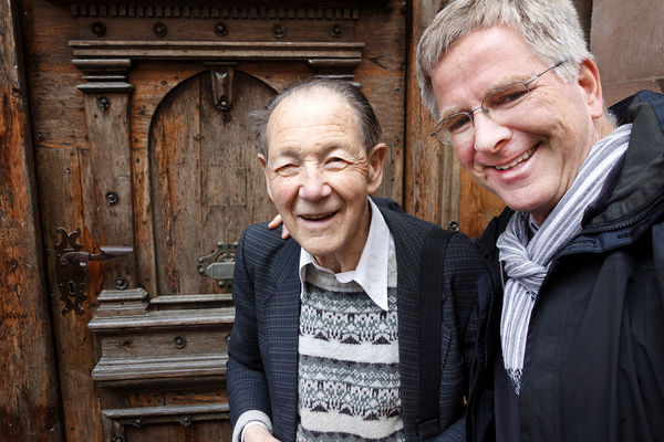 Rick with beloved former schoolteacher and local guide Herr Rolf Jung, Bacharach, Germany