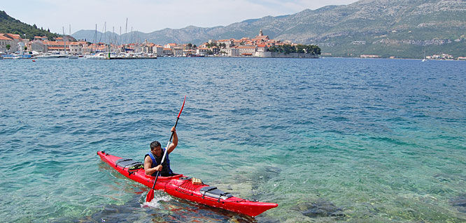Kayaking off Korčula, Croatia