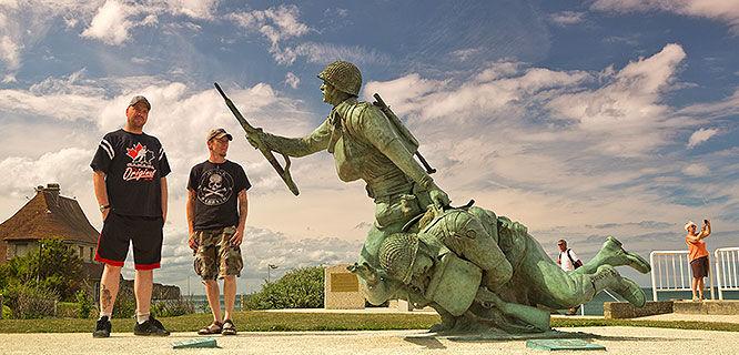 'Ever Forward' memorial statue, Omaha Beach, Normandy, France