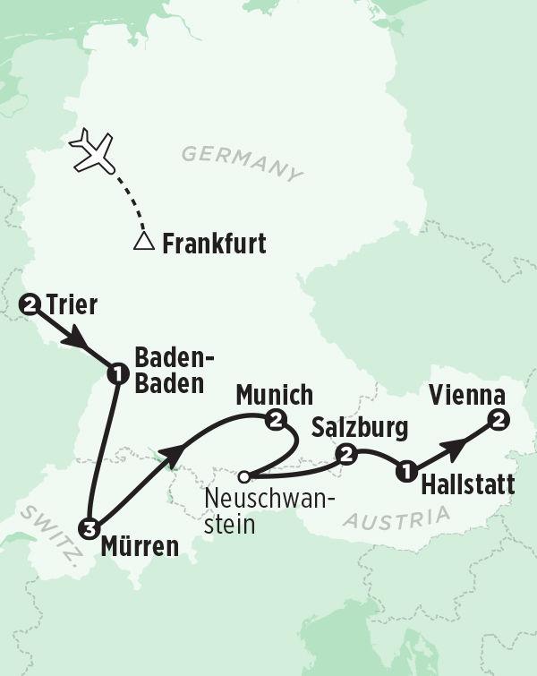 Tour Germany Austria Switzerland in 14 Days – Map Austria Germany