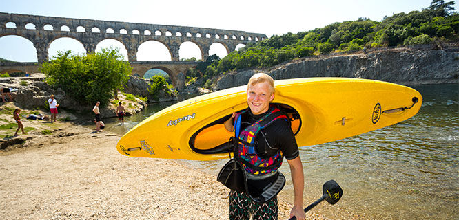 Kayaker at Pont du Gard, Provence, France