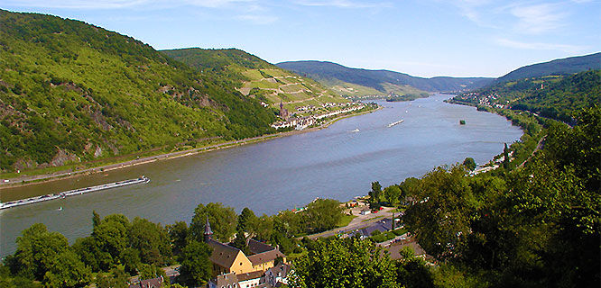 Rhine River as seen from Bacharach, Germany