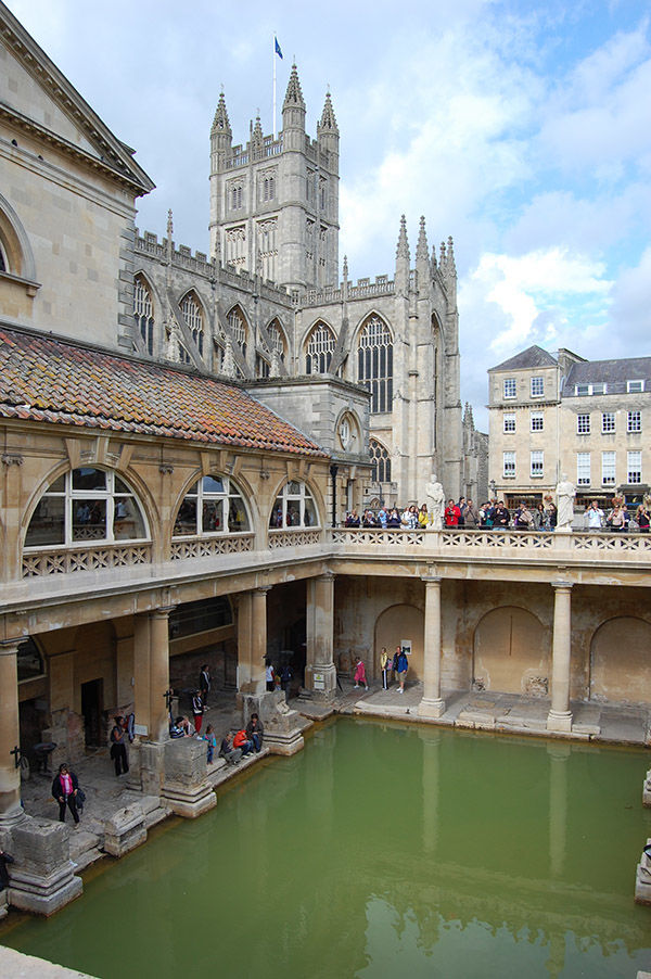 Roman baths and Bath Abbey, Bath, England