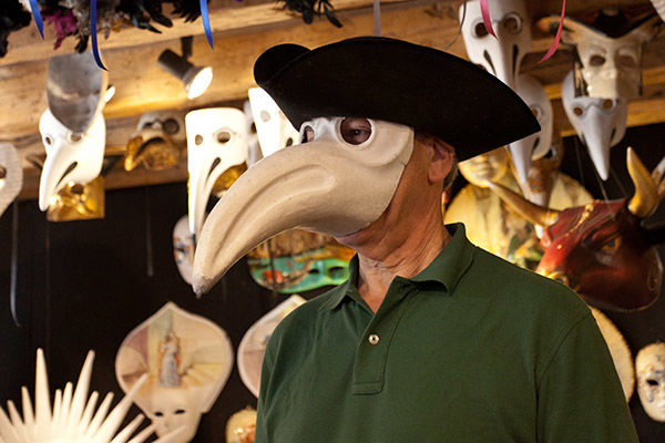 Plague doctor mask, Venice, Italy