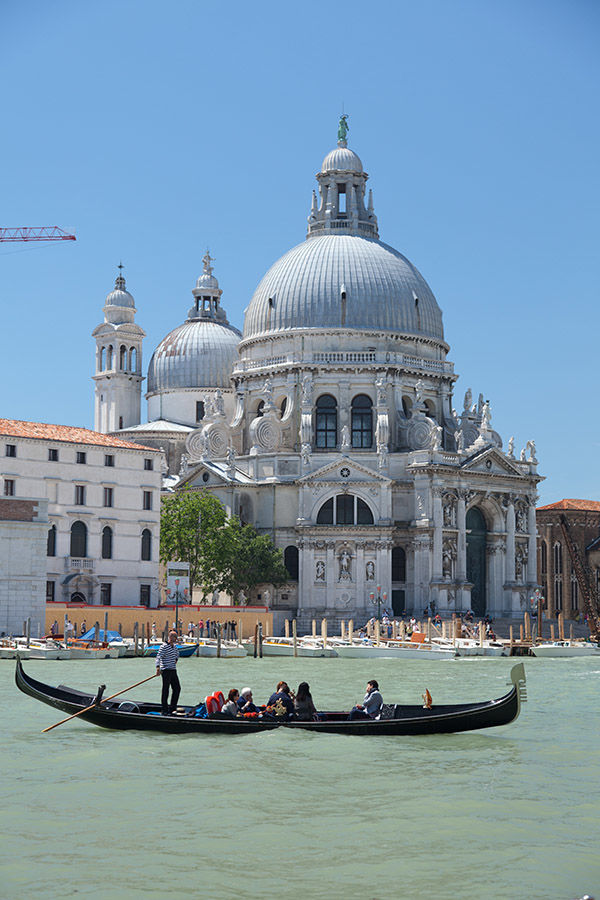 Gondola and La Salute Church, Venice, Italy