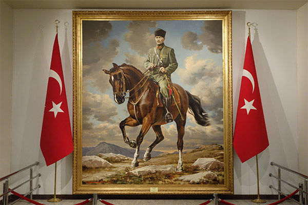 Portrait of Kemal Atatürk, in Anıtkabir mausoleum, Ankara, Turkey
