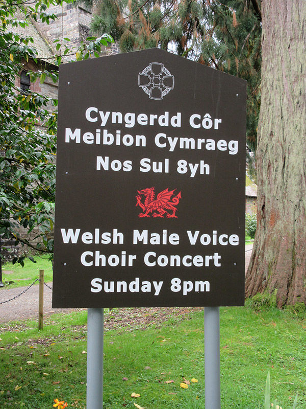 Notice of men's choir concert, Conwy, Wales
