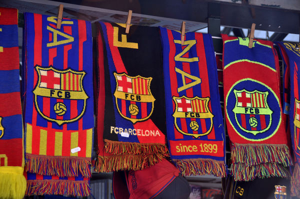 Soccer fan scarves, Barcelona, Spain