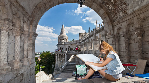 Painting the view from Fishermen's Bastion, Budapest, Hungary