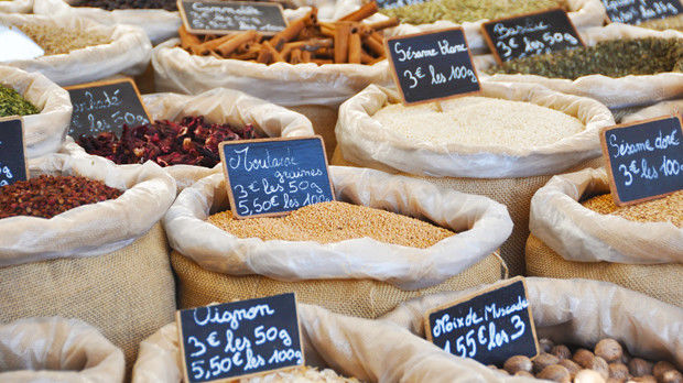 Market grains and spices, Isle-sur-la-Sorgue, France