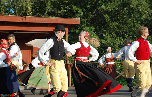 Traditional dancing at Skansen Open-Air Folk Museum, Stockholm, Sweden