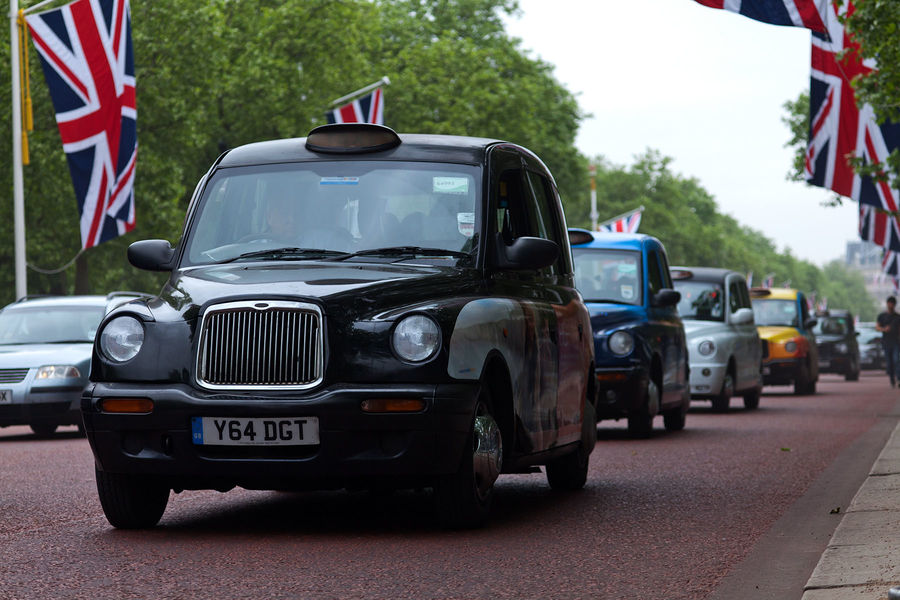 Taxis on The Mall, London, England