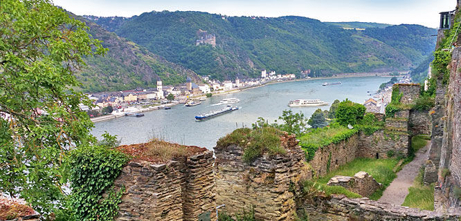 Rhine River as seen from Rheinfels Castle, St. Goar, Germany