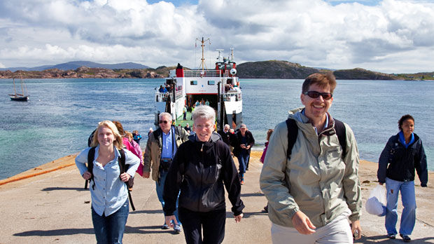 Disembarking from the Mull–Iona ferry, Isle of Iona, Scotland