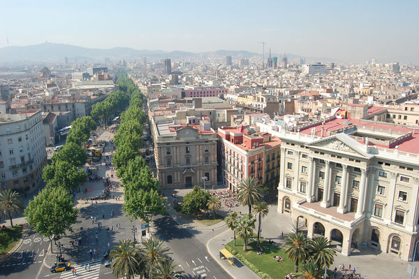 The Ramblas, as seen from the Columbus Monument, Barcelona, Spain