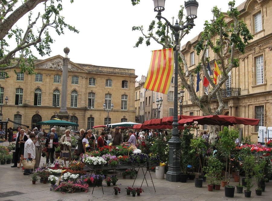 Place de l'Hôtel de Ville flower market, Aix-en-Provence, France