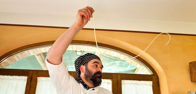 Cooking demonstration, Chianciano Terme, Italy