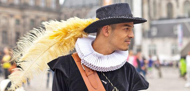 Historical festivities, Dam Square, Amsterdam, Netherlands