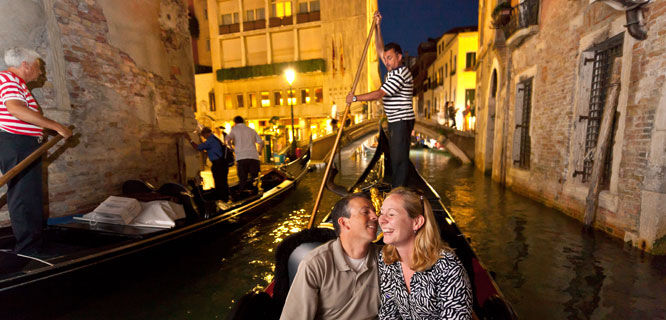 Evening gondola ride, Venice, Italy