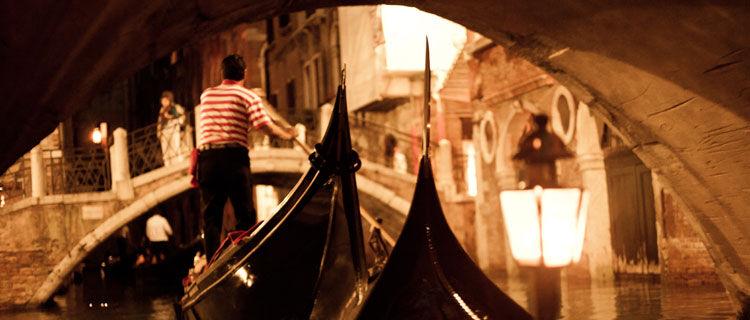 Nighttime gondola ride, Venice, Italy