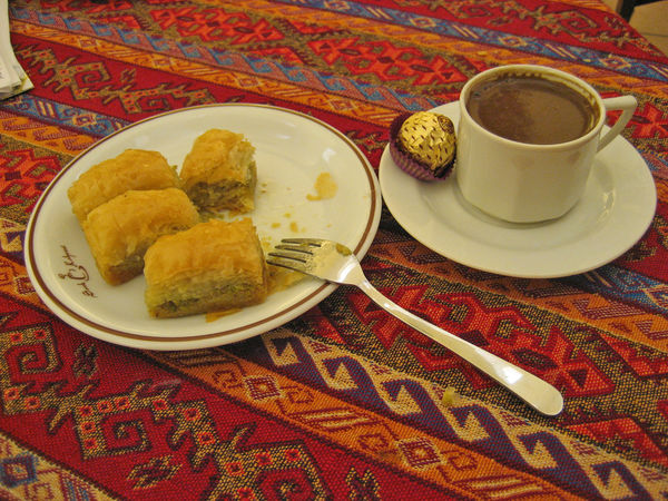 Baklava and Turkish coffee, Istanbul, Turkey