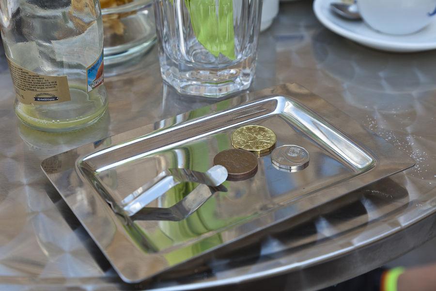 Café table, Prague, Czech Republic