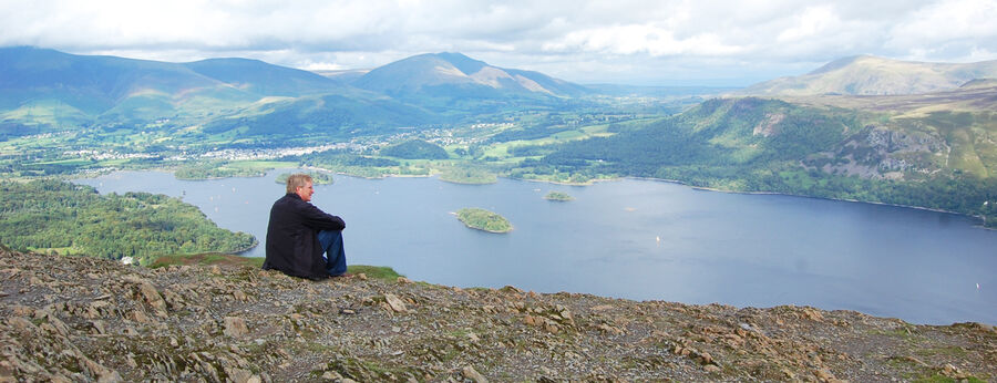 Catbells hike above Derwentwater, North Lake District, England