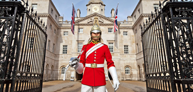 Blues and Royals trooper at Horse Guards, London, England