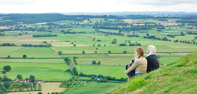 Somerset countryside as seen from Glastonbury Tor, Glastonbury, England