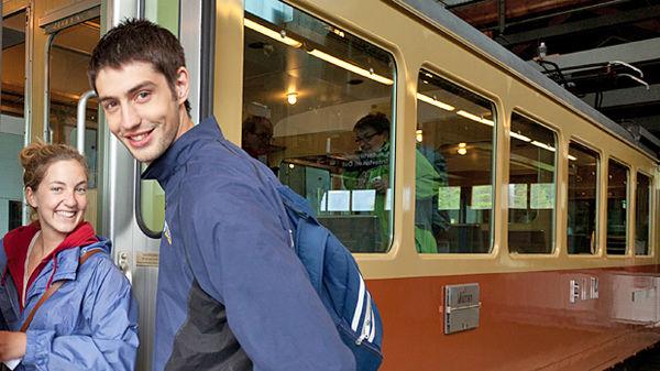 Boarding the train to Mürren in Grütschalp, Switzerland