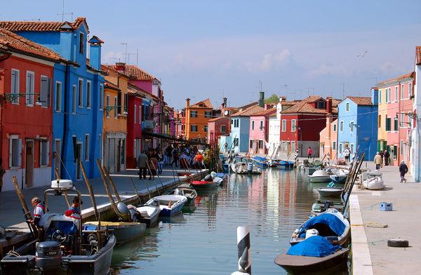 Canal in Burano, Venetian lagoon, Italy