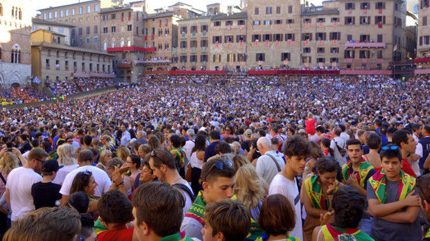 Il Campo during the Palio, Siena, Italy