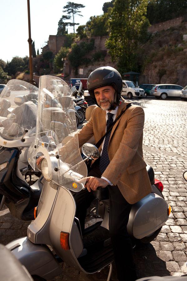 Vespa driver, Rome, Italy
