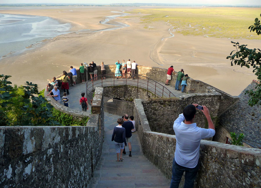Ramparts and the bay at low tide, Mont St-Michel, France