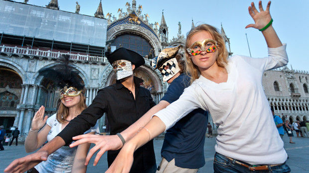 Carnival masks on St. Mark's Square, Venice, Italy