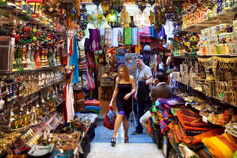 Shopping at a bazaar in Granada, Spain