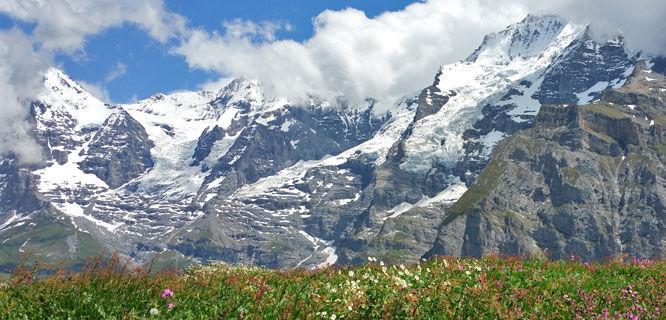 Eiger, Mönch, and Jungfrau peaks, Berner Oberland, Switzerland