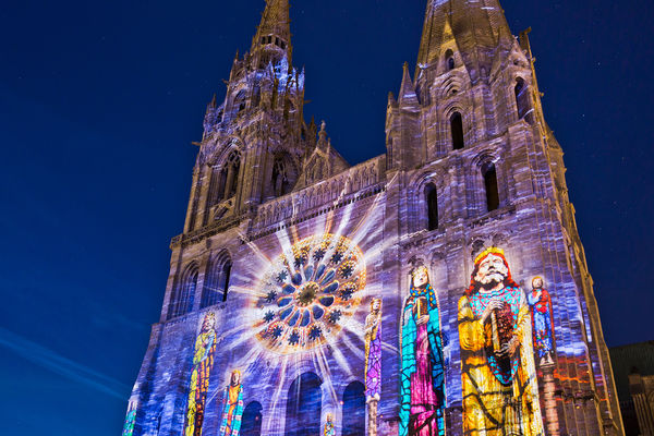 Light show on Chartres Cathedral, Chartres, France